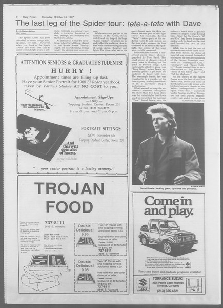 Daily Trojan, Vol. 105, No. 30, October 15, 1987