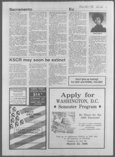 Daily Trojan, Vol. 106, No. 38, March 07, 1988