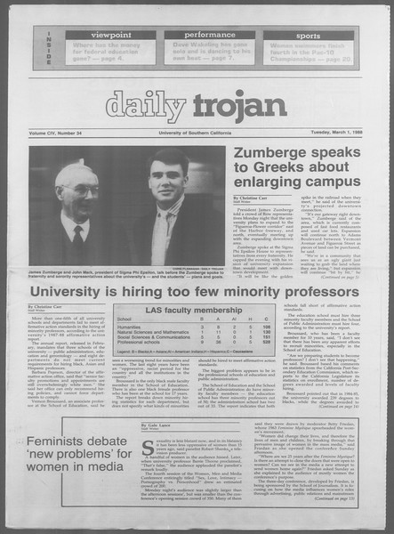 Daily Trojan, Vol. 106, No. 34, March 01, 1988