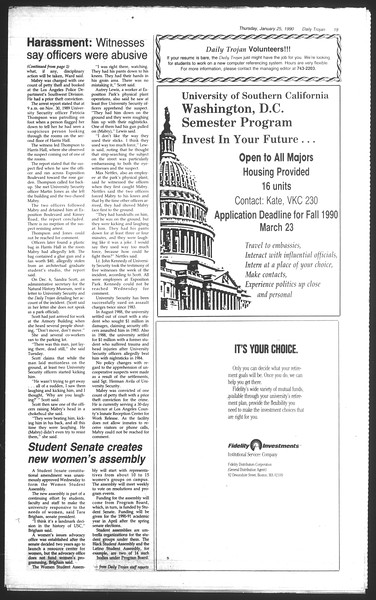Daily Trojan, Vol. 111, No. 10, January 25, 1990