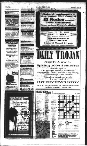 Daily Trojan, Vol. 150, No. 61, November 20, 2003