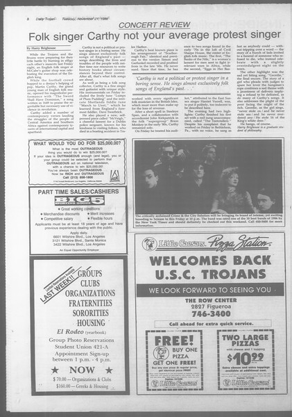 Daily Trojan, Vol. 107, No. 54, November 22, 1988