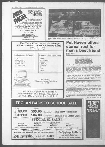 Daily Trojan, Vol. 107, No. 6, September 14, 1988