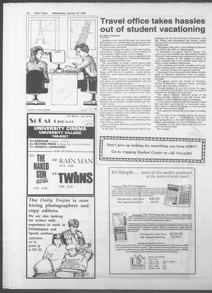 Daily Trojan, Vol. 108, No. 4, January 18, 1989