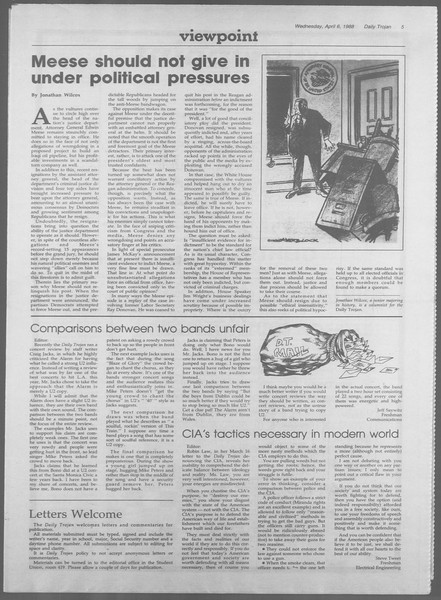 Daily Trojan, Vol. 106, No. 54, April 06, 1988