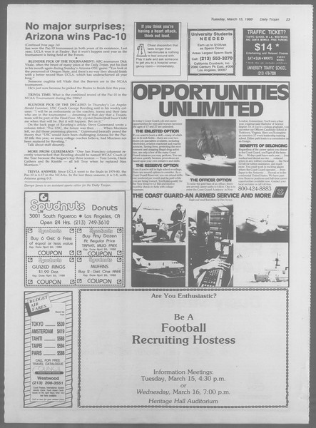 Daily Trojan, Vol. 106, No. 44, March 15, 1988
