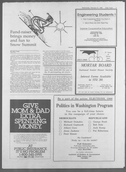 Daily Trojan, Vol. 106, No. 30, February 24, 1988
