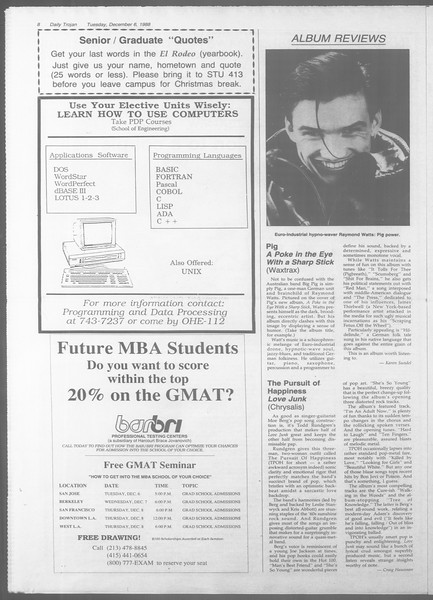 Daily Trojan, Vol. 107, No. 61, December 06, 1988