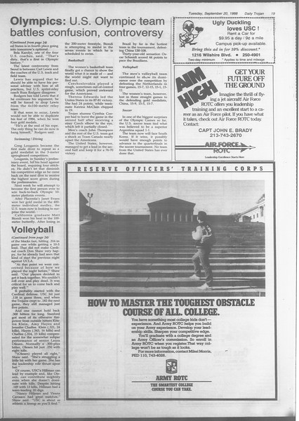 Daily Trojan, Vol. 107, No. 10, September 20, 1988