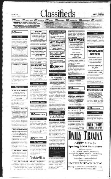 Daily Trojan, Vol. 150, No. 63, November 24, 2003