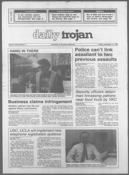 Daily Trojan, Vol. 107, No. 47, November 11, 1988