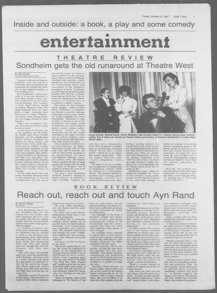 Daily Trojan, Vol. 105, No. 26, October 09, 1987