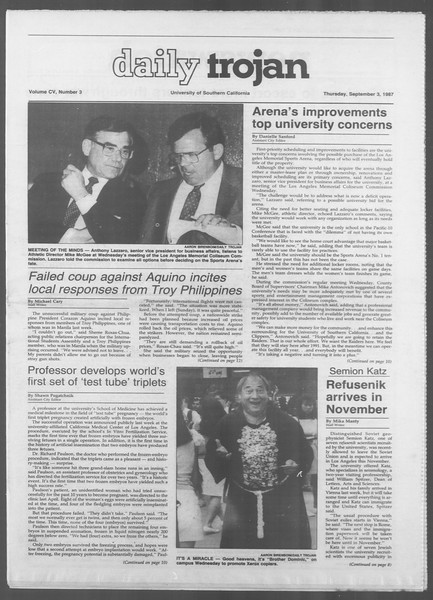 Daily Trojan, Vol. 105, No. 3, September 03, 1987