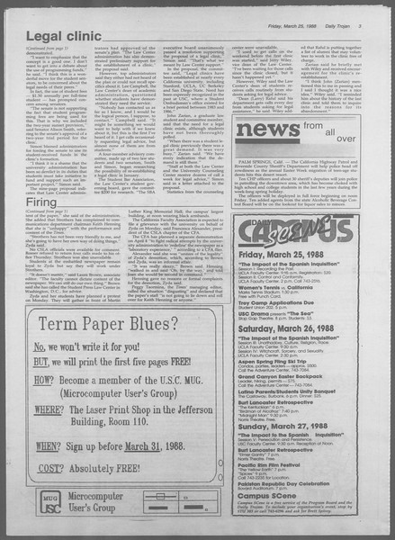 Daily Trojan, Vol. 106, No. 52, March 25, 1988