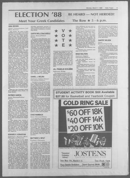 Daily Trojan, Vol. 106, No. 38, March 07, 1988
