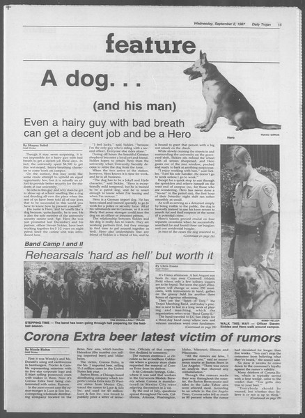 Daily Trojan, Vol. 105, No. 2, September 02, 1987