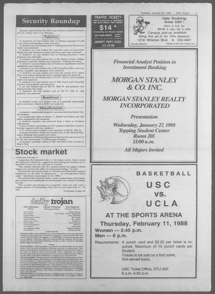 Daily Trojan, Vol. 106, No. 11, January 26, 1988