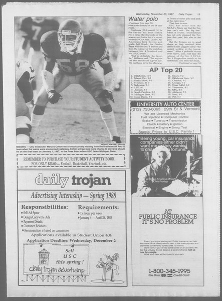 Daily Trojan, Vol. 105, No. 59, November 25, 1987