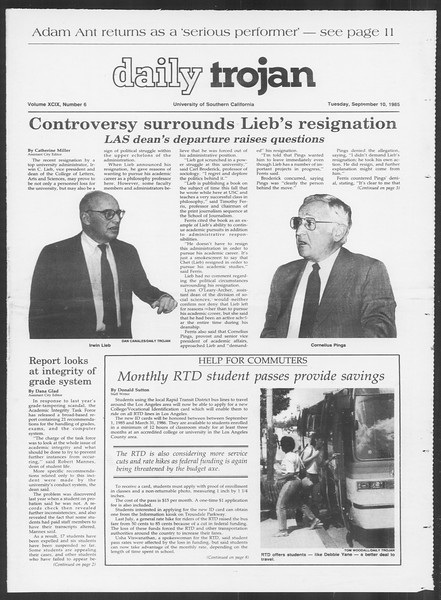 Daily Trojan, Vol. 100, No. 6, September 10, 1985
