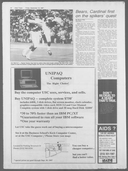 Daily Trojan, Vol. 105, No. 12, September 18, 1987