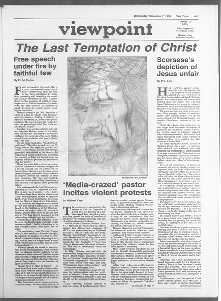 Daily Trojan, Vol. 107, No. 2, September 07, 1988