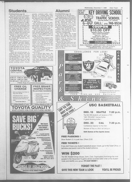 Daily Trojan, Vol. 107, No. 62, December 07, 1988