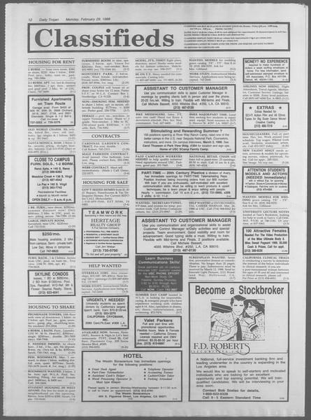 Daily Trojan, Vol. 106, No. 33, February 29, 1988