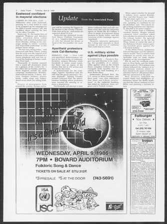 Daily Trojan, Vol. 100, No. 55, April 08, 1986