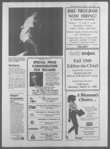 Daily Trojan, Vol. 106, No. 45, March 16, 1988