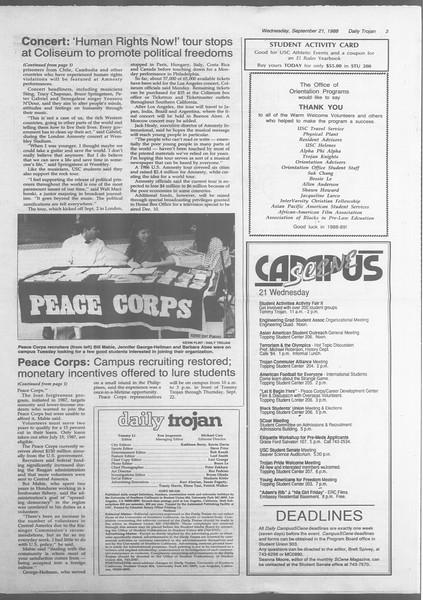 Daily Trojan, Vol. 107, No. 11, September 21, 1988