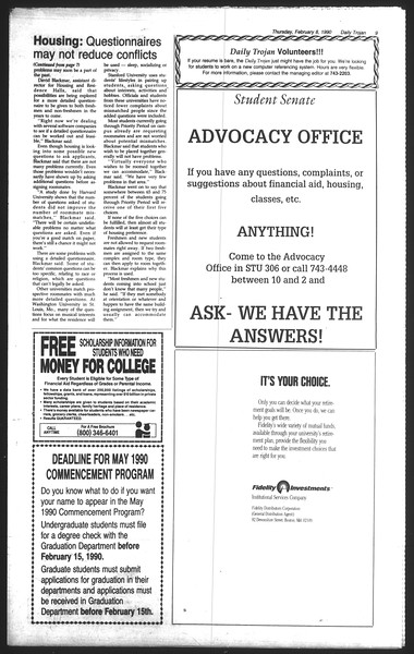 Daily Trojan, Vol. 111, No. 20, February 08, 1990