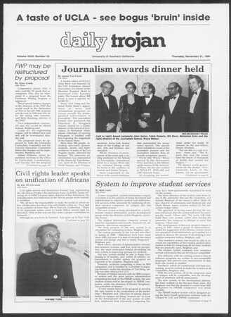 Daily Trojan, Vol. 100, No. 55, November 21, 1985