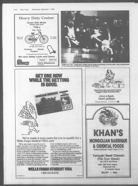 Daily Trojan, Vol. 107, No. 2, September 07, 1988