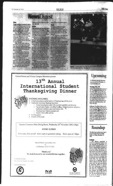 Daily Trojan, Vol. 150, No. 63, November 24, 2003