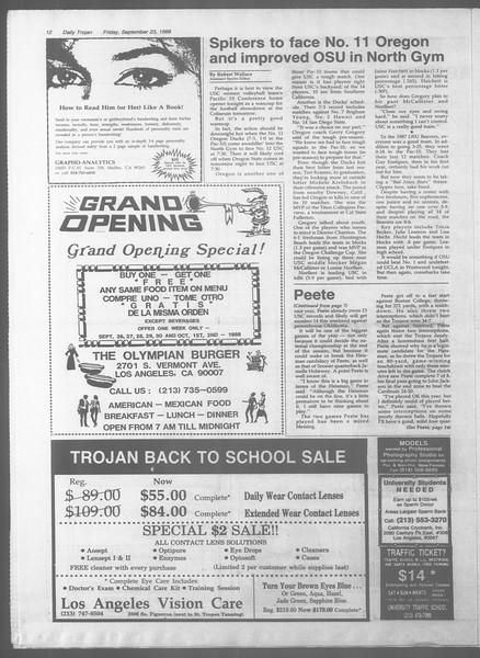 Daily Trojan, Vol. 107, No. 13, September 23, 1988