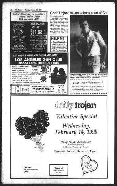 Daily Trojan, Vol. 111, No. 10, January 25, 1990