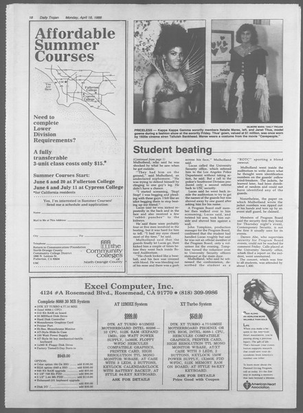 Daily Trojan, Vol. 106, No. 62, April 18, 1988