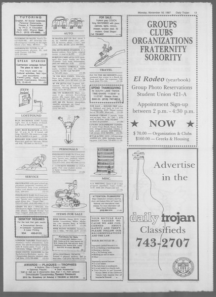 Daily Trojan, Vol. 105, No. 52, November 16, 1987