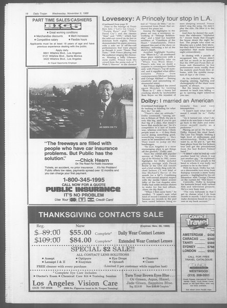 Daily Trojan, Vol. 107, No. 45, November 09, 1988