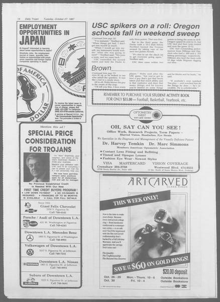 Daily Trojan, Vol. 105, No. 38, October 27, 1987