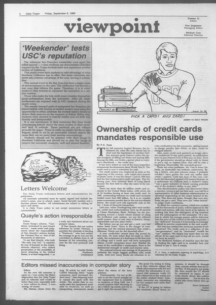 Daily Trojan, Vol. 107, No. 4, September 09, 1988