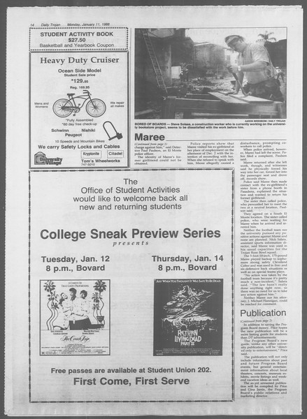 Daily Trojan, Vol. 106, No. 2, January 11, 1988