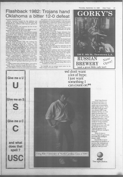 Daily Trojan, Vol. 107, No. 7, September 15, 1988