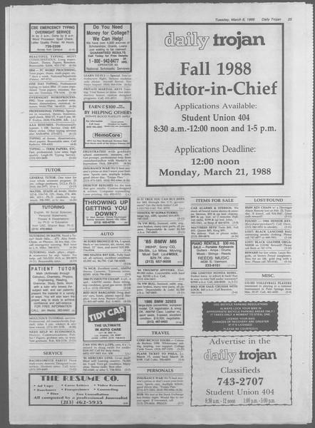 Daily Trojan, Vol. 106, No. 39, March 08, 1988
