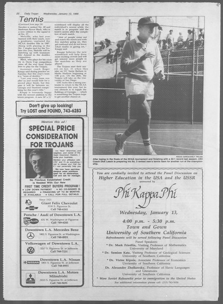 Daily Trojan, Vol. 106, No. 4, January 13, 1988