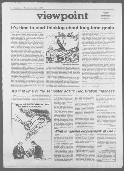 Daily Trojan, Vol. 105, No. 55, November 19, 1987