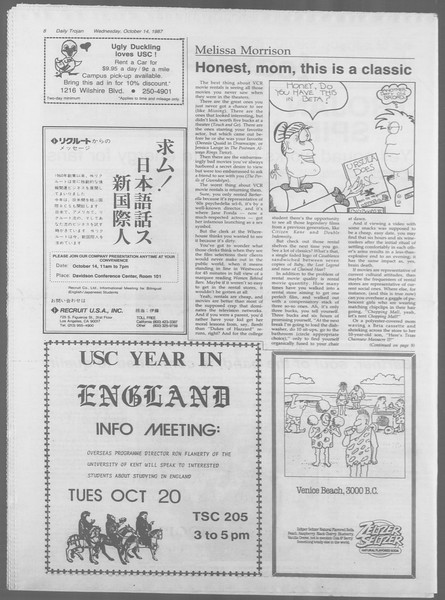 Daily Trojan, Vol. 105, No. 29, October 14, 1987