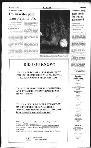Daily Trojan, Vol. 150, No. 56, November 13, 2003