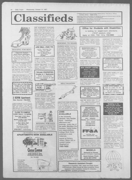 Daily Trojan, Vol. 105, No. 29, October 14, 1987