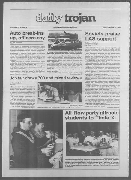 Daily Trojan, Vol. 106, No. 6, January 15, 1988